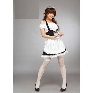コスプレ メイド服 制服4点セット(ワンピース カチューシャ エプロン トップス )