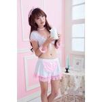 コスプレ リボンのエプロン付メイド服 白×ピンク