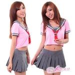 コスプレ 赤スカーフのセーラー服 ピンク×グレー女子制服