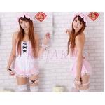 コスプレ メイド服5点セット ピンクのキャップ付コスチューム