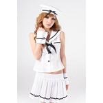 コスプレ 帽子付5点セットのせーラー服 グローブ付の白い制服