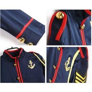 コスプレ 6点セット帽子付セーラー制服 紺色×赤ライン ガンダム風