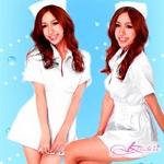 コスプレ 白のナース服キャップ付 看護婦のコスチューム