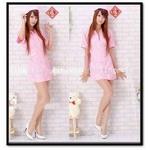 コスプレ ピンクのナース制服キャップ付 看護婦のコスチューム