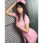 コスプレ キャップ付ピンクのナース服ワンピ 看護婦のコスチューム