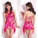 コスプレ 背中セクシーチャイナドレス 艶やかピンクドレス