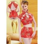 コスプレ ミニスカ-トのチャイナドレス 艶やかな赤色ドレス