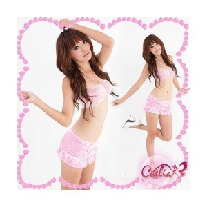 ピンクのランジェリー 3点セット セクシースカートセット