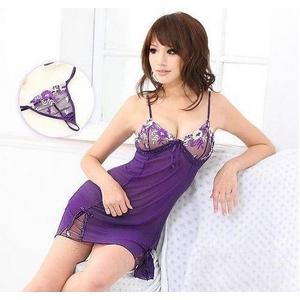 ランジェリー 胸元刺繍紫のベビードール&Tバック