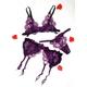 紫のランジェリー 花びらのフリル ガーターベルト&ブラ&ショーツ