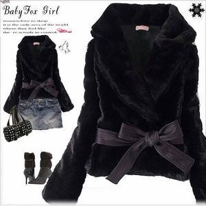 リボン付き♪ファージャケット ブラック サイズL
