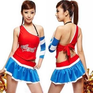 コスプレ *赤×ブルーのミニスカチアガール*レースクイーン