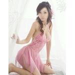 ランジェリー 裾セクシーピンクのベビードール&Tバック/ランジェリー