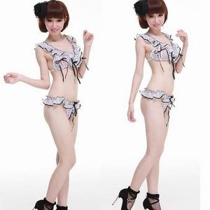 コスプレ ランジェリー 2011新作 開閉可!ホワイト×ブラック 水玉フリフリ ブラ&Tバックセット