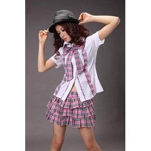 コスプレ 2011新作 ピンクチェックの可愛い制服コスチューム C426
