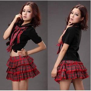 コスプレ 2011新作 赤チェックの可愛い制服コスチューム C427