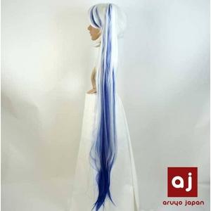 耐熱高級繊維 コスプレに欠かせないカラーウィッグ COSPLAY T メッシュブルーホワイト