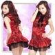 黒いリボン付赤のチャイナドレス・コスプレ