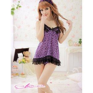 【紫×黒】豹柄のベビードール&ショーツ ランジェリーセット8433