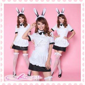 蝶リボン&エプロン付バニーガールコスプレ【黒×白】