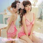 裾フリルピンクのベビードール&Tバック/ランジェリー  8703