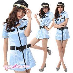 【ポリスコスプレ】爽やかブルー★ベルトと帽子付婦人警官コスプレ 5324