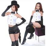 【セクシーコスプレ】グローブ&帽子付バニーガール/♪黒白【4247】
