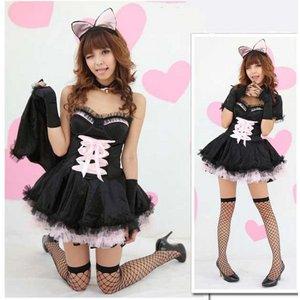 【黒ピンク】パニエ付きバニーガール♪【4248】