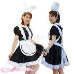 【黒】耳カチューシャ&シッポ付きメイド服コスプレ/5453