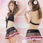 【黒ピンク】リボン付 ブラ&Tバック/セクシーランジェリー 8451