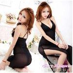 【黒】  ロング ベビードール&Tバック ランジェリー 8575