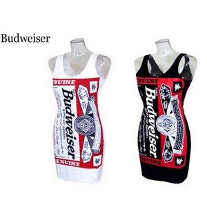 Budweiser バドガールクルーネックワンピース【M】ホワイト
