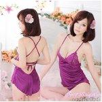 紫 バッククロス ベビードール&Tバック/ランジェリー 8259
