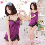 紫  裾レース ベビードール&Tバック/ランジェリー 8252