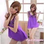 【紫】  リボン ベビードール&Tバック/ランジェリー 8466