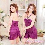【紫】  ホルターネック ベビードール&Tバック/ランジェリー 8470