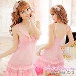 【ピンク】フロントレース添えベビードール&ショーツ・ランジェリー/8222