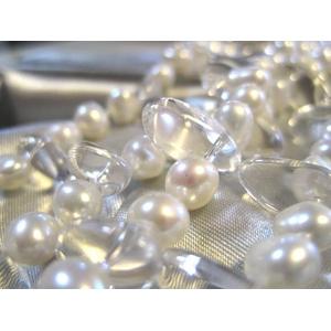 特選!二連パールネックレス(50cm/ホワイト&水晶):上海オーダーメイドジュエラー発の宝石