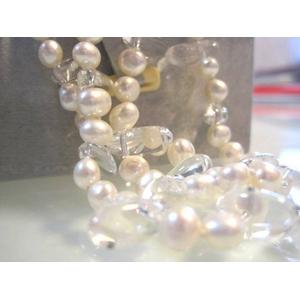 特選!二連パールネックレス(50cm/ホワイト&水晶):上海オーダーメイドジュエラー発のデザイン