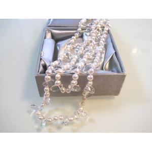 特選!二連パールネックレス(50cm/ホワイト&水晶):上海オーダーメイドジュエラー発のケース(梱包)