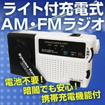 手回しライト付充電式小型ラジオ(AM・FM/携帯充電機能付)