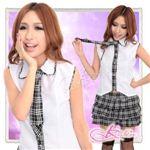 コスプレ ネクタイ付黒チェックフリルスカートの学生服