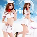コスプレ セクシーミニスカ 白セーラーコスチューム4点セット (上着 スカーフ 帽子 ミニスカート)フリーサイズ