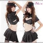 コスプレ セクシー悩殺ミニスカポリスコスチューム5点セット(上着 ブラ ネクタイ 帽子 スカート)黒 フリーサイズ