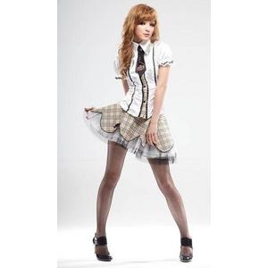 茶色チェック ミニスカ制服コスプレ4点セット 半袖 コスチューム