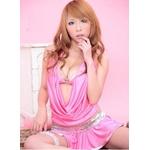 スパンコール付き ピンクのセクシーミニスカコスプレセット