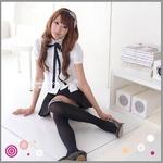 2010年新作カチューシャ付☆女子高生制服コスチューム3点セット コスプレ