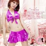 ピンクメタリック☆セクシーミニスカコスチューム3点セット コスプレ