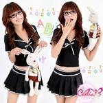 コスプレ 学生服*白ライン黒の女子制服コスプレ 6031