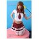 コスプレ 【学生服】 裾白レース添え赤チャックスカートの女子制服コスプレ